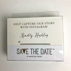 Darice Save the Date 24 Hashtag Signs White Gold